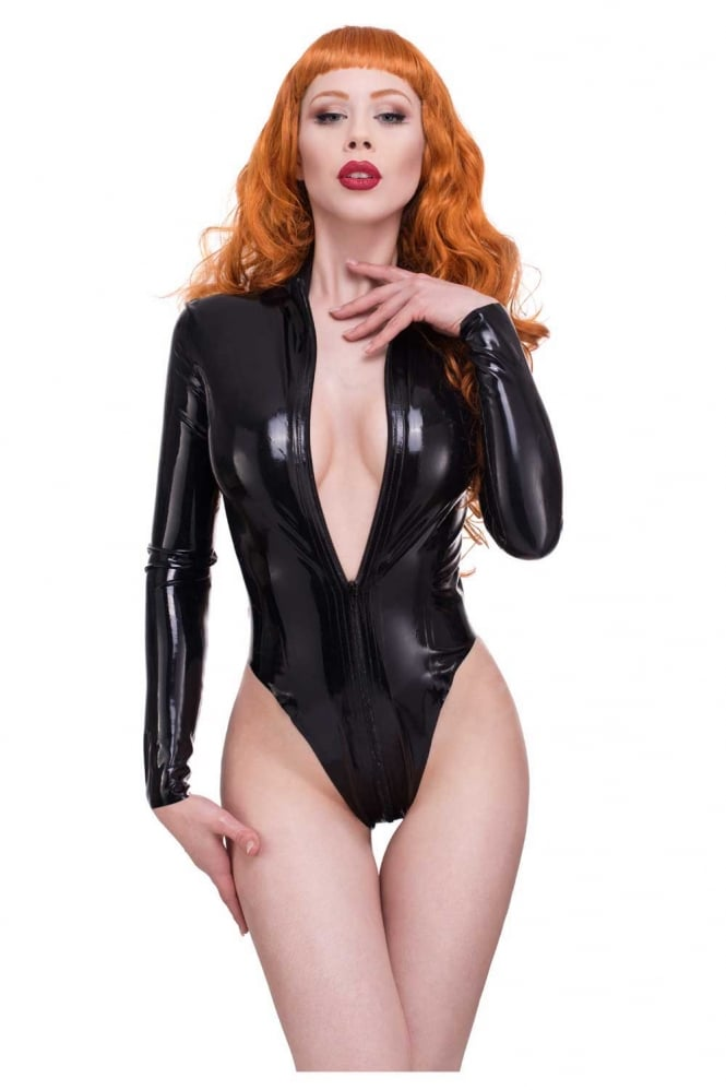 Red Label - Mistress Latex Rubber Leotard, High Cut.