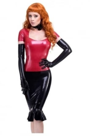Red Label - Nadia Pencil Latex Rubber Skirt