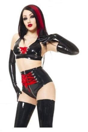 Ribbon Cleavage Latex Rubber Bra.