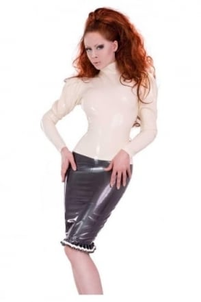 Roxy Ruffle Latex Rubber Skirt.