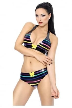 Scorchio Bikini Latex Rubber Bra Latex Rubber Top with multi colour trim lines.