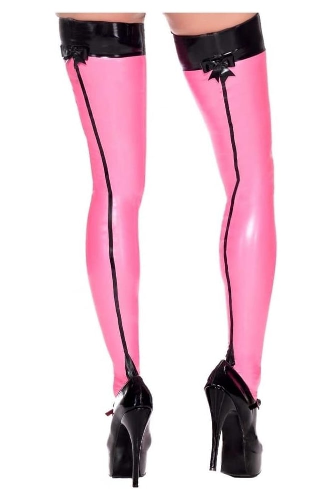 Seamed Bow Latex Rubber Stockings