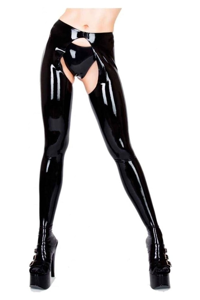 Seamed Open-Front Latex Rubber Tights.