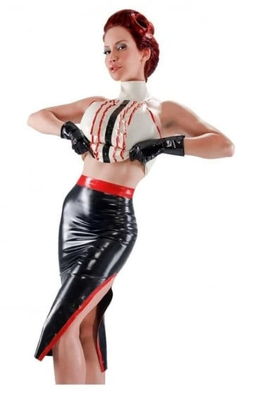 Side Slit Latex Rubber Skirt.