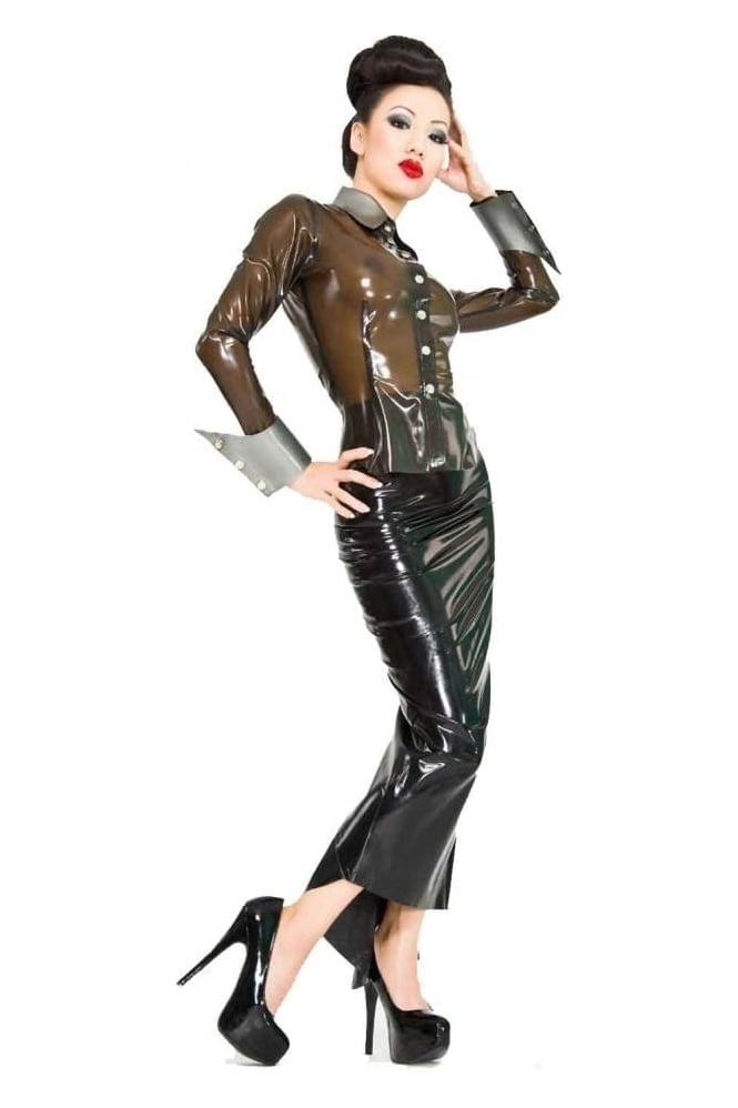 Swank Latex Rubber Shirt with Detachable Cuffs